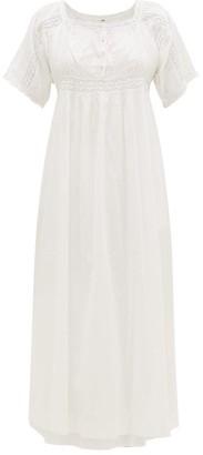 Mimi Prober - Maria Lace-panel Organic-cotton Midi Dress - Womens - White