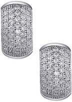 Lafonn Platinum Plated Sterling Silver Micro Pave Simulated Diamond Large Huggie Earrings