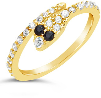 Sterling Forever 14K Yellow Gold Vermeil Pave CZ Snake Bypass Ring