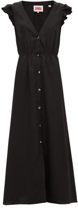 Solid & Striped Ruffled-shoulder Crepe Maxi Dress - Womens - Black