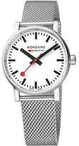 Mondaine Men's evo2 35mm sapphire Watch with St. Steel brushed Case white Dial and stainless steel mesh Strap MSE.35110.SM