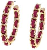 "RJ Graziano Bright Idea"" Suede and Braid Chain Hoop Earrings"