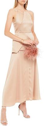 Roland Mouret Chora Hammered Silk-satin Peplum Maxi Dress