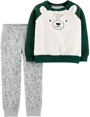 Carter's Toddler Boy Fuzzy Bear Raglan Pullover Top & Fleece Jogger Pants Set