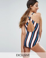 Monki Stripe High Leg Plunge Cross Back Swimsuit