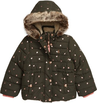 Joules Kids' Hooded Puffer Jacket with Faux Fur Trim