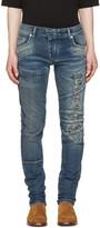 Pierre Balmain Blue Distressed Panelled Jeans