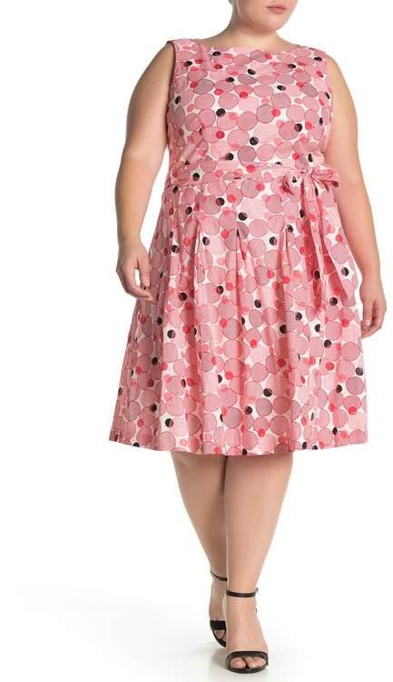 Anne Klein Circle Print Waist Tie Woven Dress (Plus Size)
