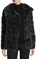 Belle Fare Banded Asymmetric Fur Coat, Dark Gray