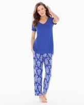 Soma Intimates Ankle Pants Pajama Set Bold Ikat Jewel Blue