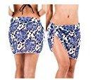 DZT1968 Women Summer Beach Chiffon Bikini Coverup Asymmetrical Skirt Swimsuit (Blue)