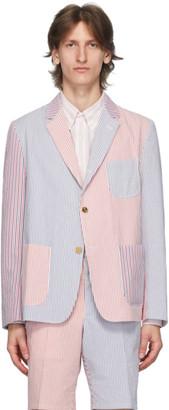 Thom Browne Navy and Red Seersucker Striped Sack Sport Coat Blazer