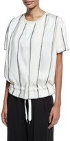 DKNY Short-Sleeve Paneled Satin Drawstring Top, Gesso