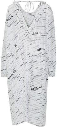 Balenciaga Pleated Printed Silk Crepe De Chine Midi Dress