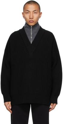 Burberry Black Cashmere Pipard Half-Zip Sweater