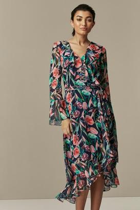 Wallis Navy Floral Print Ruffle Midi Dress