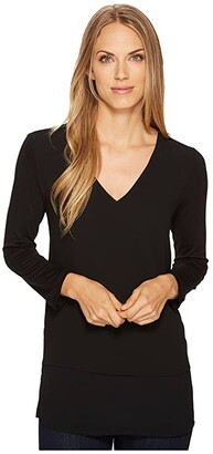MICHAEL Michael Kors V-Neck Mixed Media (Black) Women's Clothing