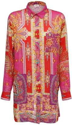 Etro Printed Ramie Shirt Dress W/ Pockets
