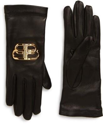 Balenciaga Giant BB Logo Leather Gloves