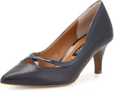 Neiman Marcus Viktoria Crisscross Leather Pump, Navy