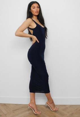 Missguided Navy Plunge Back Ruched Midaxi Dress