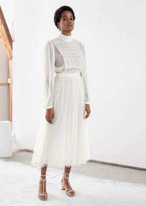 And other stories Recycled Polyester Lace Midi Dress