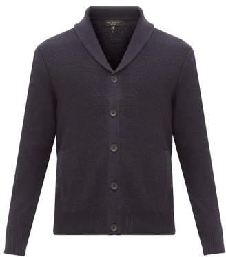 Rag & Bone Cardiff Moss Stitched Merino Wool Blend Cardigan - Mens - Navy