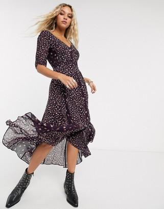AllSaints marcella short sleeve mix andmatch floral midi dress-Black