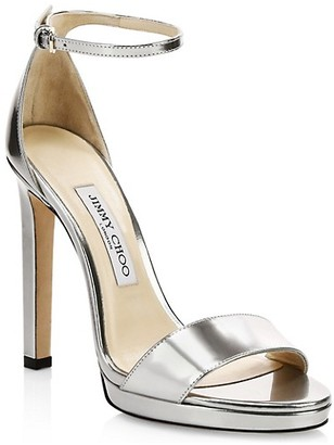 Jimmy Choo Misty Metallic Leather Ankle-Strap Sandals