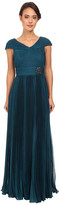 Adrianna Papell Shirred Capelet with Pleated Skirt