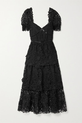 Self-Portrait Crochet-trimmed Tiered Guipure Lace Midi Dress - Black