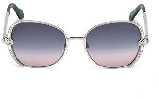 Roberto Cavalli 56MM Embellished Metal Square Sunglasses
