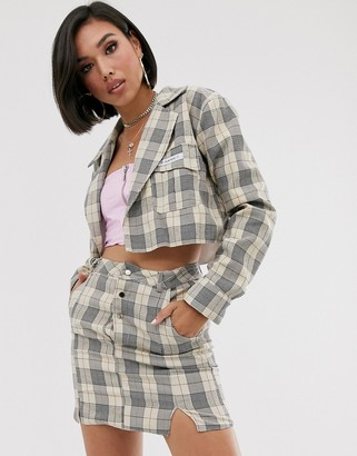 My Mum Made It crop blazer in check co-ord