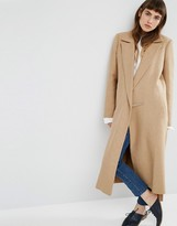 Asos Wool Blend Premium Coat in Midi Length and Metal Fastening