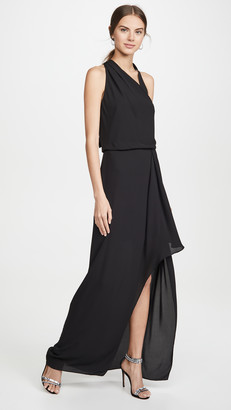 Halston Asymmetric Draped Gown