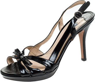 Prada Black Strappy Patent Leather Bow Open Toe Slingback Sandals Size 38