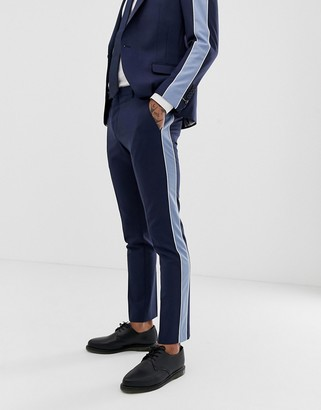 Twisted Tailor super skinny suit trouser with contrast stripe-Navy