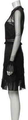Three floor Mock Neck Knee-Length Dress w/ Tags Black
