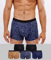 Asos Trunks With Animal Print 5 Pack