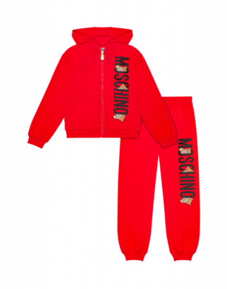 Moschino Teddy Logo Fleece Suit Unisex Red Size 4a It - (4y Us)