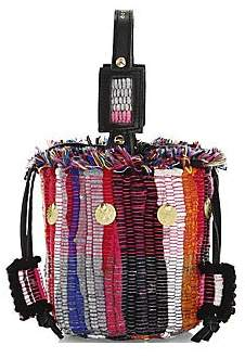 Kooreloo Women's Cupcake Woven Striped Bucket Bag