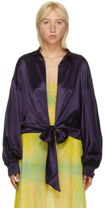 Collina Strada SSENSE Exclusive Purple Satin Ribbon Osho Blouse