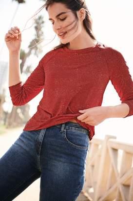 Next Womens Rust Neppy Long Sleeve Top - Orange