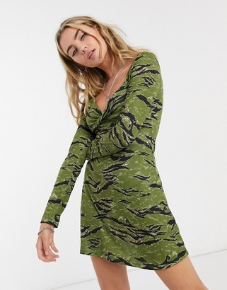 Topshop camo dress in green animal print
