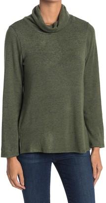 Bobeau Cowl Neck Face Mask Space Dye Print Sweater