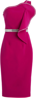 Safiyaa Exclusive Bonita Rhinestone-Trimmed Crepe Midi Dress
