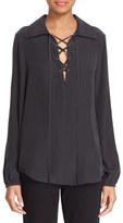 Frame Lace-Up Silk Blouse (Nordstrom Exclusive)