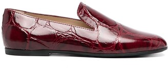 Tod's Embossed Crocodile-Effect Loafers