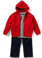 Nautica Baby Boys 12-24 Months Solid Hoodie, Striped Tee & Denim Jeans Set