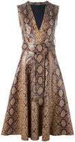 Alexander McQueen python print dress - women - Cotton/Lamb Skin - 40